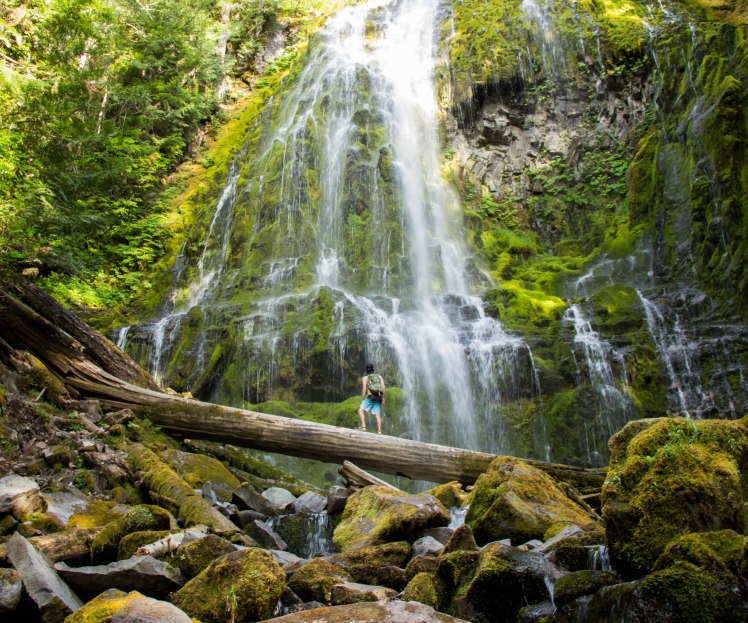 Standing in awe under upper Proxy Falls